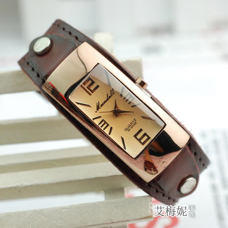 Гаджет  New 2015 Fashion women quartz watches dress watches business casual Clock wristwatch tetragonum genuine leather strap watches None Часы