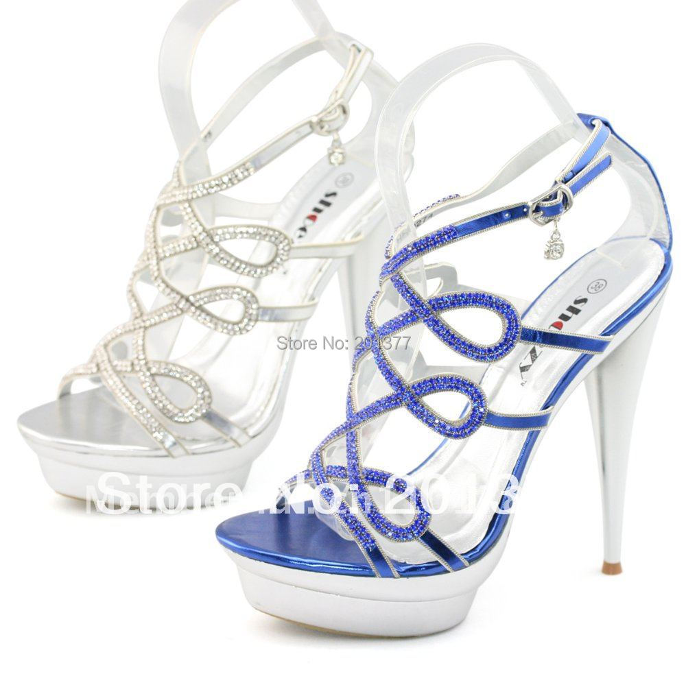 Silver And Blue Heels - Is Heel