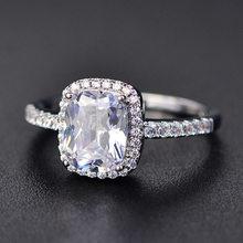 PANSYSEN Charms 7x9MM fioletowy naturalny ametyst pierścienie dla kobiet oryginalne srebro 925 biżuteria pierścień hurtownie Wedding Party prezenty(China)