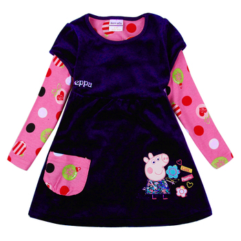 3 colors nova kids clothing cartoon dresses hot selling kids winter dresses baby dress Shear plush kids frocks girl casual dress