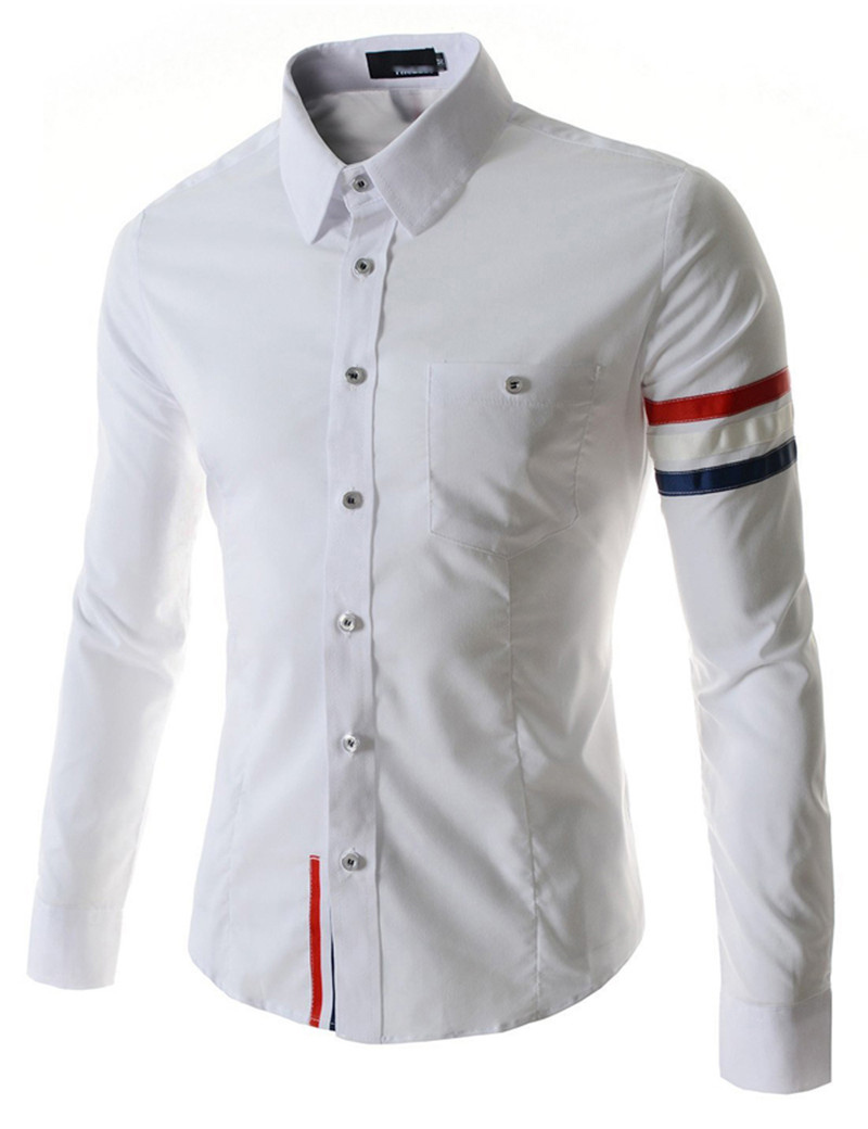 2015 New Fashion Brand Great Stripe Men Shirts Long Sleeve Cotton Slim Fit French Cuff Casual