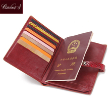 CONTACT'S Real Genuine Leather Women Passport Holder Wallets Lady Cowhide Passport Cover Purse Brand Famale Credit&Id Car Wallet(China (Mainland))