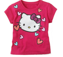 Retail New 2014 Baby Girl Cartoon Hello Kitty Short T Shirt Girl s Cotton Summer T