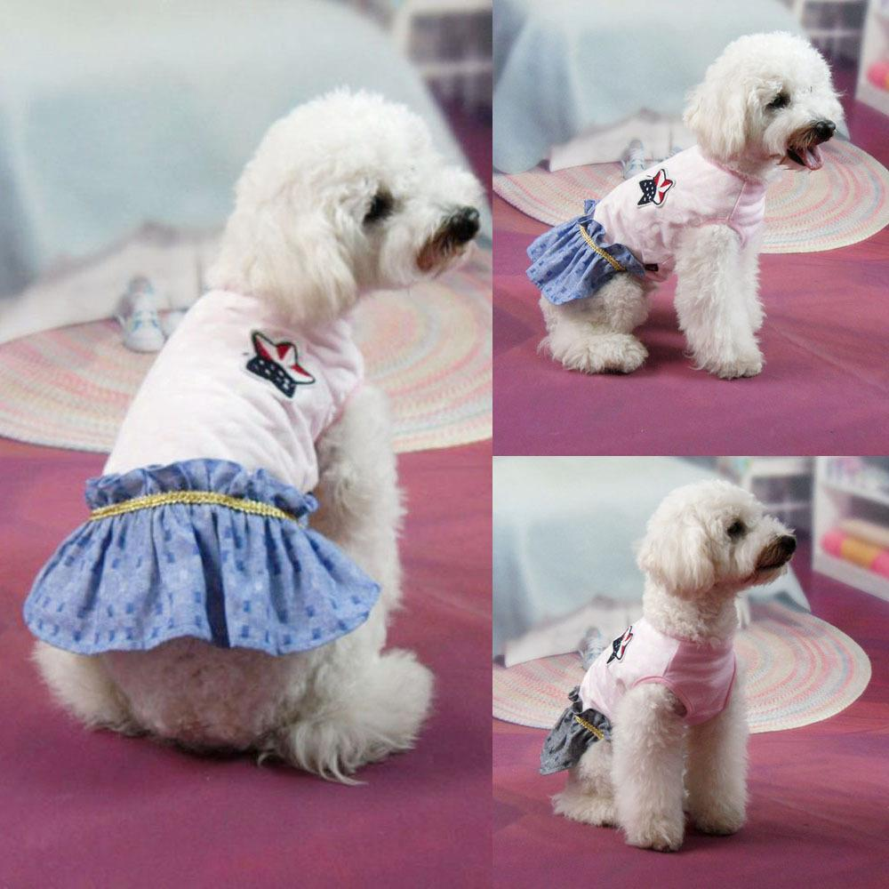 The Best Price For Small Pet Pink Polk Dot Apparel Gold Belt Tutu Skirt Puppy Dog Mini Skirt(China (Mainland))