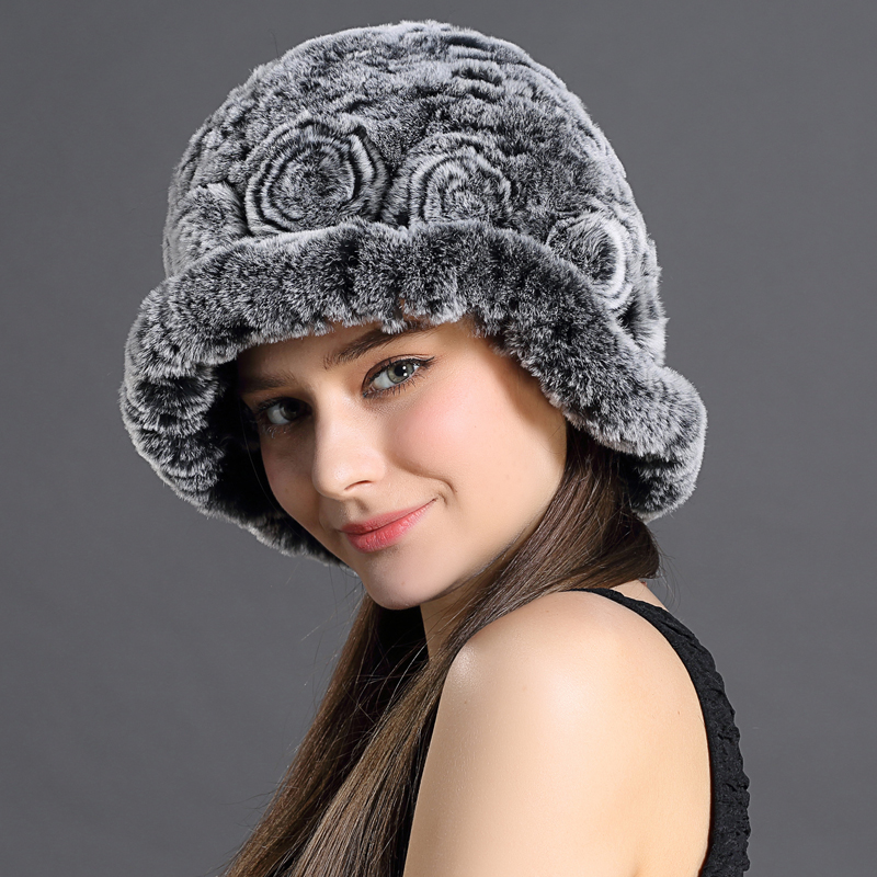 Real Fur Hats Knitted Floral Rex Rabbit Fur Lovely Hat Girls Caps For Women Luxury Brand Women 2016 New Russian Winter Hat Caps(China (Mainland))