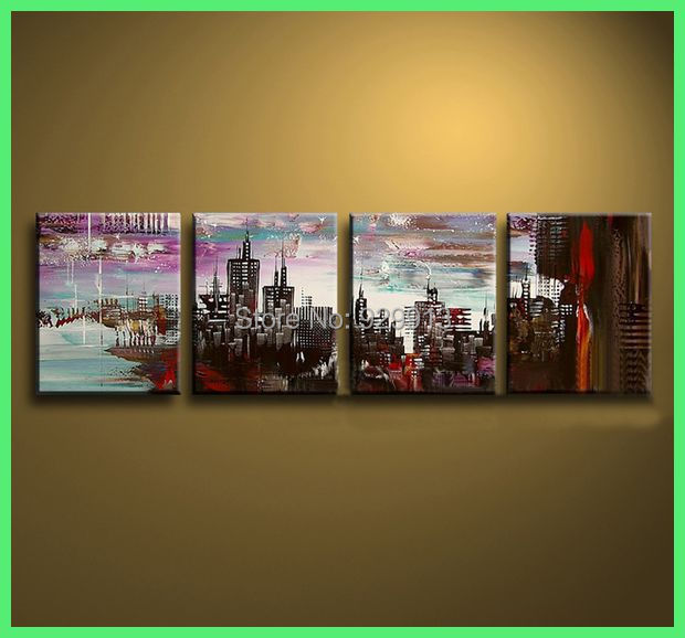 Framed 4 Panel Large Picture New York Oil Painting On
