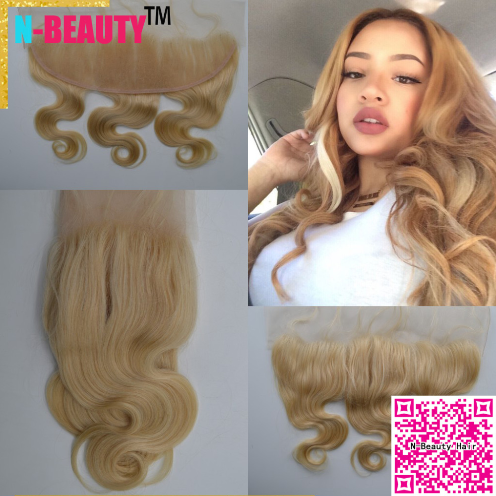 Best seller N-Beauty Hair Virgin Brazilian hair Wet and Wavy #613 lace front closure bleached knots 13*4 free part lace frontal<br><br>Aliexpress