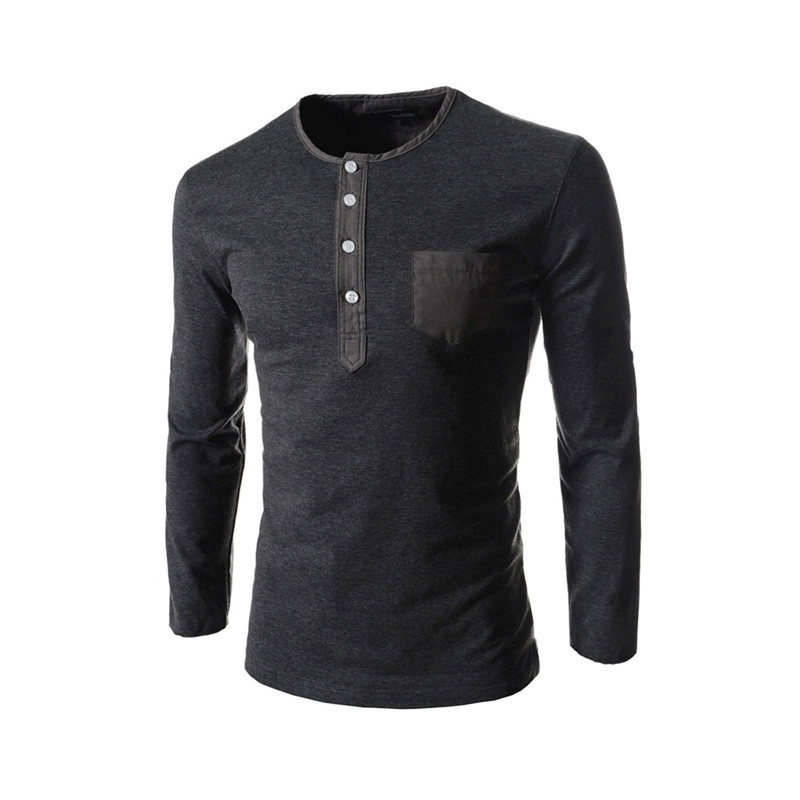 2015 Brand Fashion Mens Henley Shirts Casual Slim Fit T-Shirt Male Basic Tee Shirt Homme Long Sleeve Cotton Tops UnderShirts(China (Mainland))