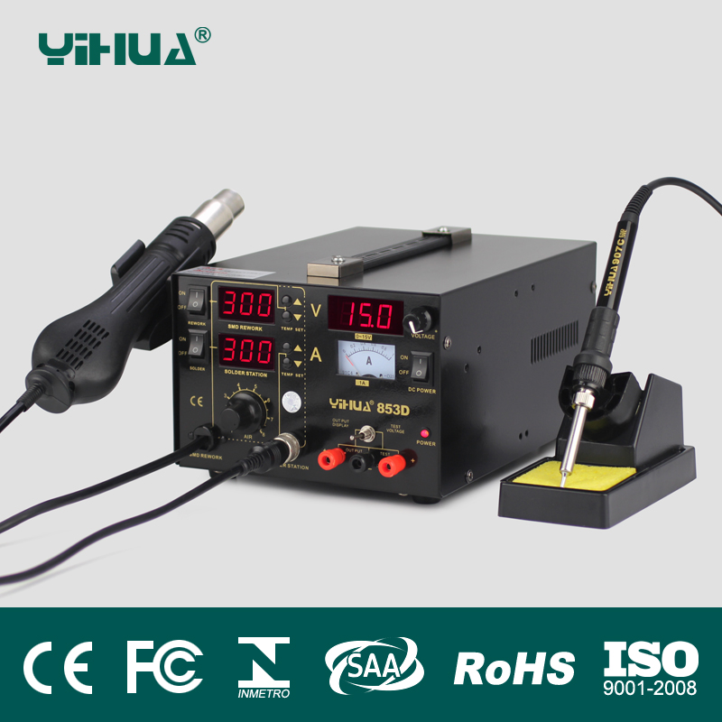 Free 220V/110V EU/US PLUG 3 1 Hot air gun rework station YIHUA 853D Soldering station power supply soldering