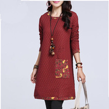 2015 Autumn Style New Fashion Women Clothing Thick Plus Size Dress Polka Dot Long-sleeved Elegant Casual Cotton Dresses Female(China (Mainland))