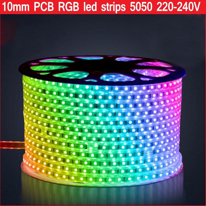 220V 240V RGB led strip 5050 Waterproof Led Tape rope ribbon lights 60LEDs/m 10mm PCB Width 1m 5m 10m 20m For home Decoration(China (Mainland))
