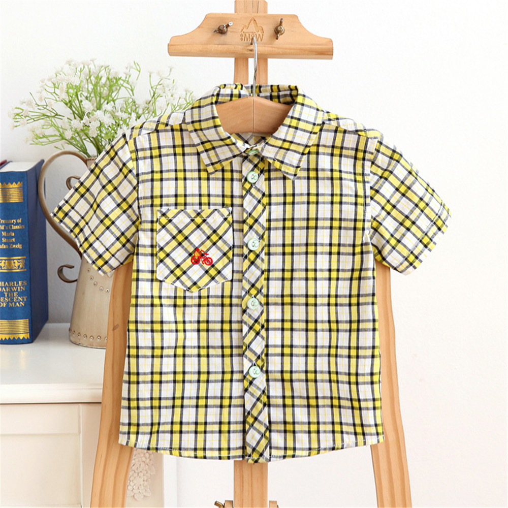 Free Shipping Boy Shirt Summer Cotton Kid Clothing Short Sleeve Plaid Boy Shirt font b Tartan