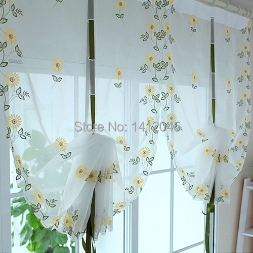 Hot tulle for window Roman curtain blinds embroidered voile sheer Curtains for kitchen living room the bedroom window Screening(China (Mainland))