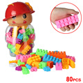 80 pieces lot Self Locking Bricks Assemblage Blocks Cartoon DIY Early Childhood Educational Toys Models