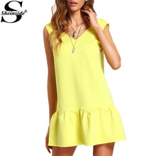 Sheinside Ladies Ruffle V Neck Backless Drop Waist Elegant Mini Dresses 2016 New Casual Summer Style Sexy Dress(China (Mainland))