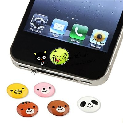6 Pieces animal Patterns Home Button Sticker Compatible with Apple iPhone 4S for iphone 5