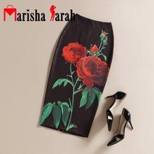 Black Vintage Women Rose Flower Printed Skirts High Waist Floral Pencil Elegant Midi Skirt Office Lady Wear Back Split Faldas