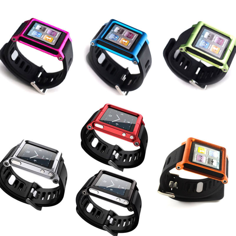 1 Piece 7 Colored Blade Aluminum Watch Band Wrist Cover Case for iPod Nano 6 6g 6th(China (Mainland))