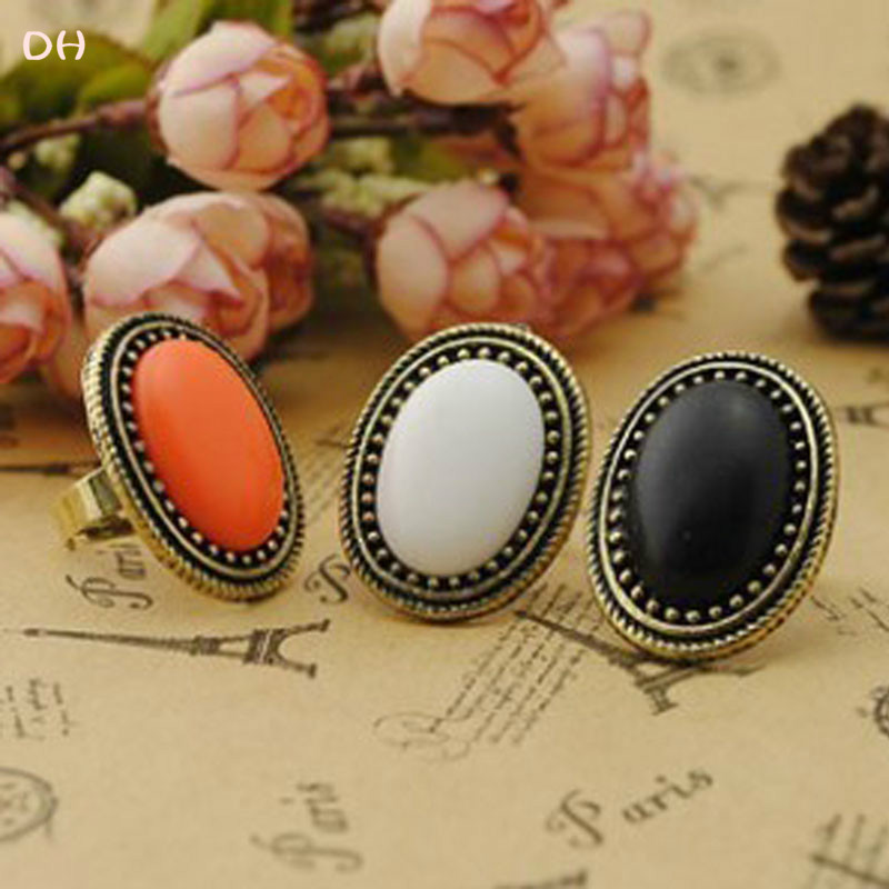 2015 DH Rings New Fashion Jewelry European Style Personalized Fashion Vintage Oval Gem Retro Ring 66R635 66R636 66R643(China (Mainland))