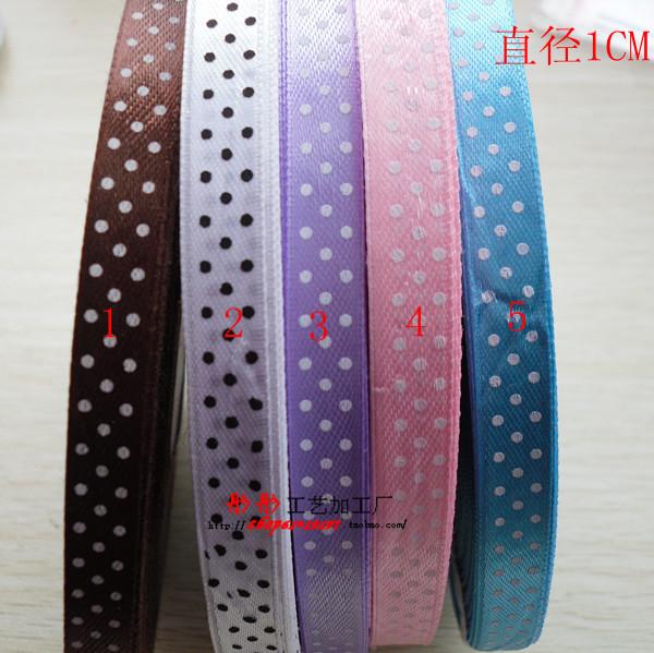 Free shipping Dot Printed Ribbon 1cm 3/8'' satin ribbon,color mixed Ribbon Polka dots printed satin ribbonaccessory gift package(China (Mainland))