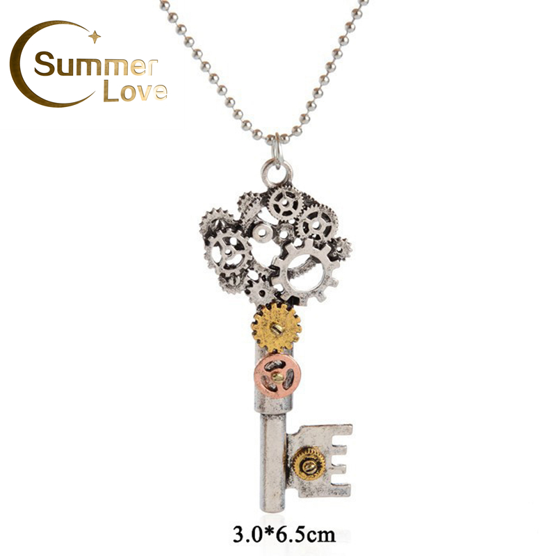 suspension steampunk silver key pendant necklace bijouterie bead chain necklaces & pendants punk bijoux for women collares mujer(China (Mainland))