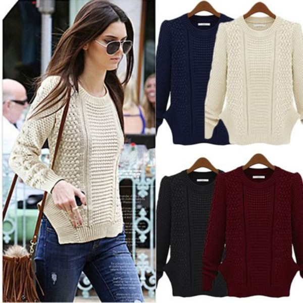 New Hot Women Casual Long Sleeve Knitted Jumper Coat Jacket Sweaters and Pulovers Blouse(China (Mainland))
