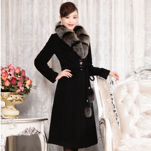 Winter temperament high quality women's elegant style long cashmere overcoat with blue fox fur
