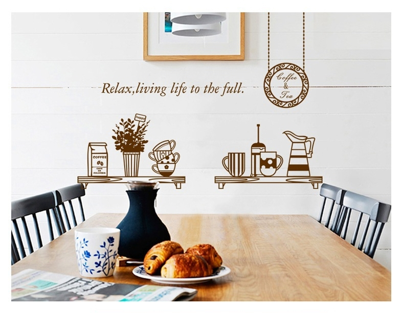 Brown coffee milk wall sticker decals removal cups for Kitchen dining room wallpaper