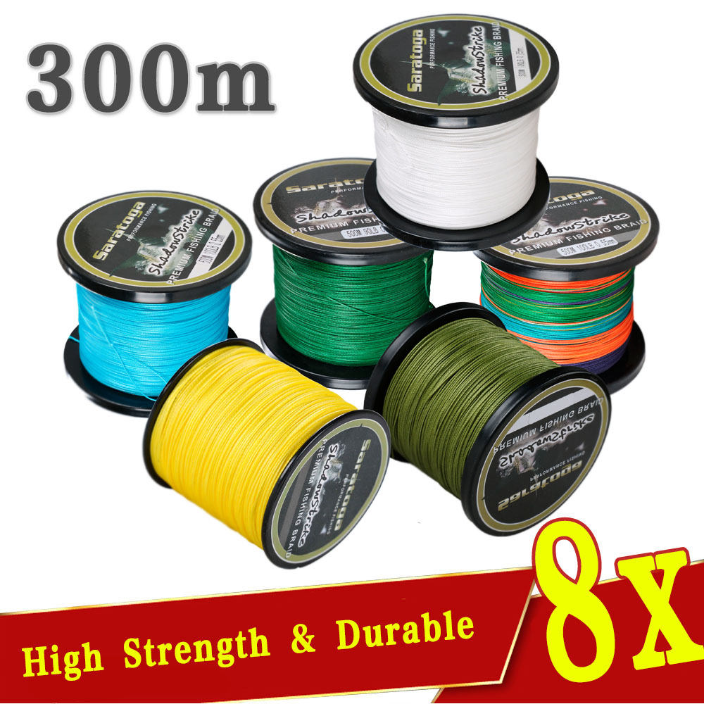 Briad Line 300m/330Yard 8 strands PE Braided Fishing Line.Fishing Tackle.6-30LB, 12 Colors Available(China (Mainland))