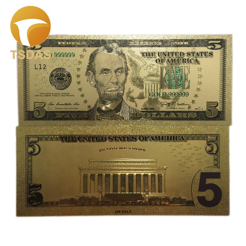 Покрытые настоящим золотом Банкноты набор USD 100/50/20/10/5 коллекции. 999 чистый Билл 24 5