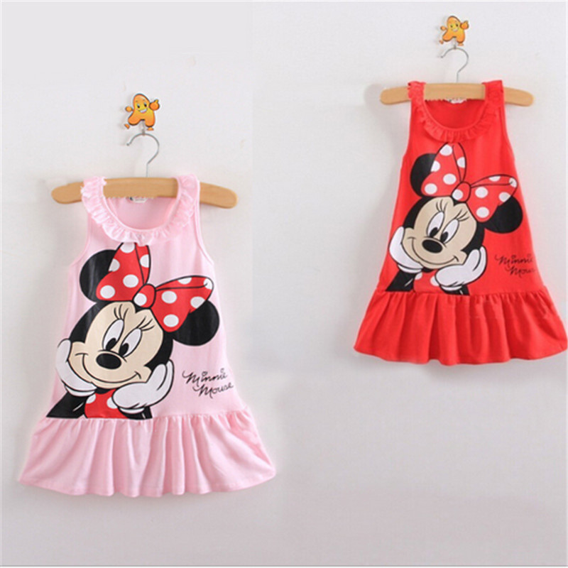 2016 Kid Girls Dress Minnie Cartoon Stripe Dresses Summer Children's Clothing Cotton Vest Dress Classical Pink And Red(China (Mainland))