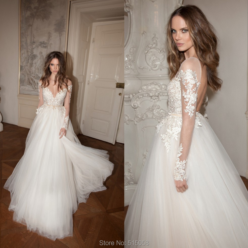 Berta bridal 2015 sheer lace long sleeves open back for Wedding dress with sleeves and open back