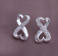 China wholesale Aliexpress sterling silver 925 100% earrings, shinning crystal earrings YAE047