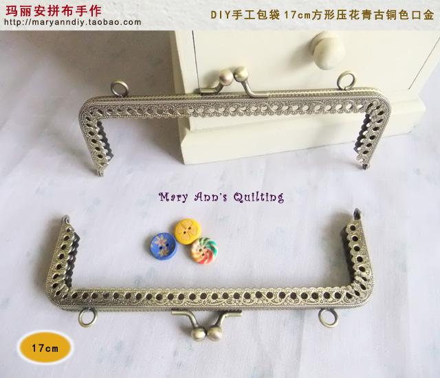 17CM square bronze handle DIY export Box Clutch Purse Frame Bag handle hanger Supplier China 2015 New Fashion metal purse handle(Hong Kong)
