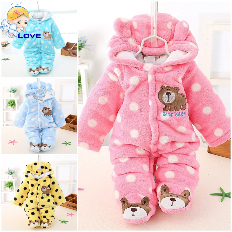 S721 Newborn Baby Boy Clothing Fleece Winter Girl Romper Cartoon Infant Babies Clothes Meninas Bear Snowsuit Pink Blue Jumpsuits(China (Mainland))