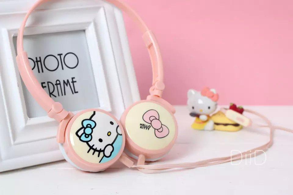 2016 Hello Kitty Headphone with Mic for Iphone 5 5s 6 6plus cute music stereo kids foldable headset cartoon headband IX11(China (Mainland))