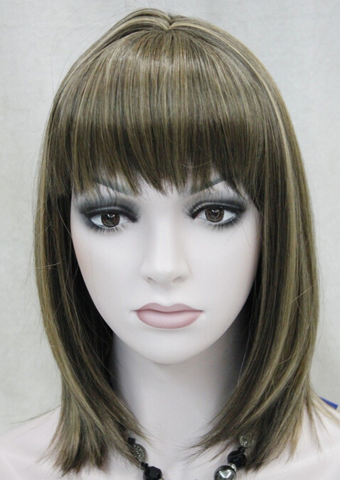 BW0519 FREE SHIPPING Express delivery to USA Medium Brown Mixed Women Ladies Daily Hair Wig(China (Mainland))