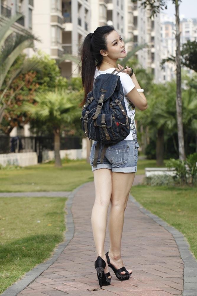2015 fashion backpack women Girls Retro Jeans Backpack Travel ...