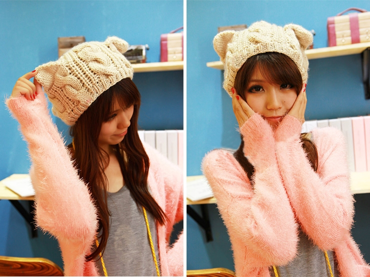 Fashion Lady Girls Winter Warm Knitting Wool Cat Ear Beanie Ski Hat Cap HB88