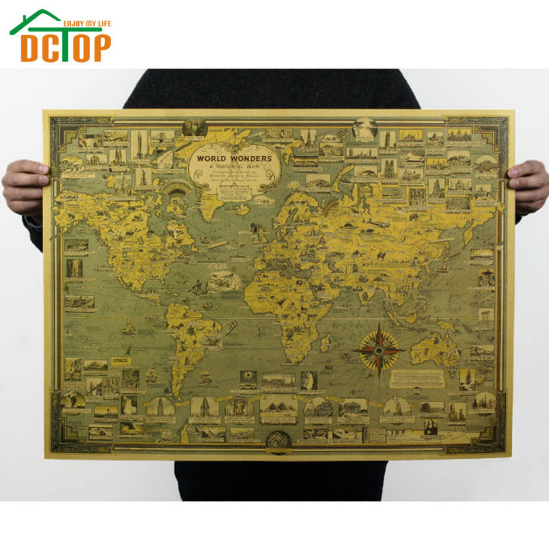 Vintage Poster Global World Map Decals The World's Architectural Landmarks Retro Kraft Paper Wall Sticker Home Decor(China (Mainland))