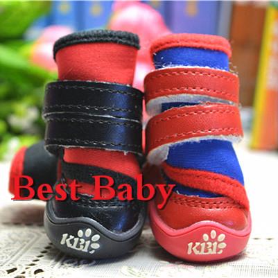 2015 New 4pcs/set Red/Blue/Black Neoprene New Senior Waterproof Dog Boots 1032 Brand New Dachshund Shoes For Pet Cat Animal(China (Mainland))