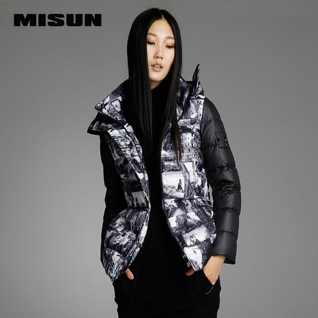MISUN with a hood Длинный-Рукав thickening patchwork geometric winter coat Женщины ...