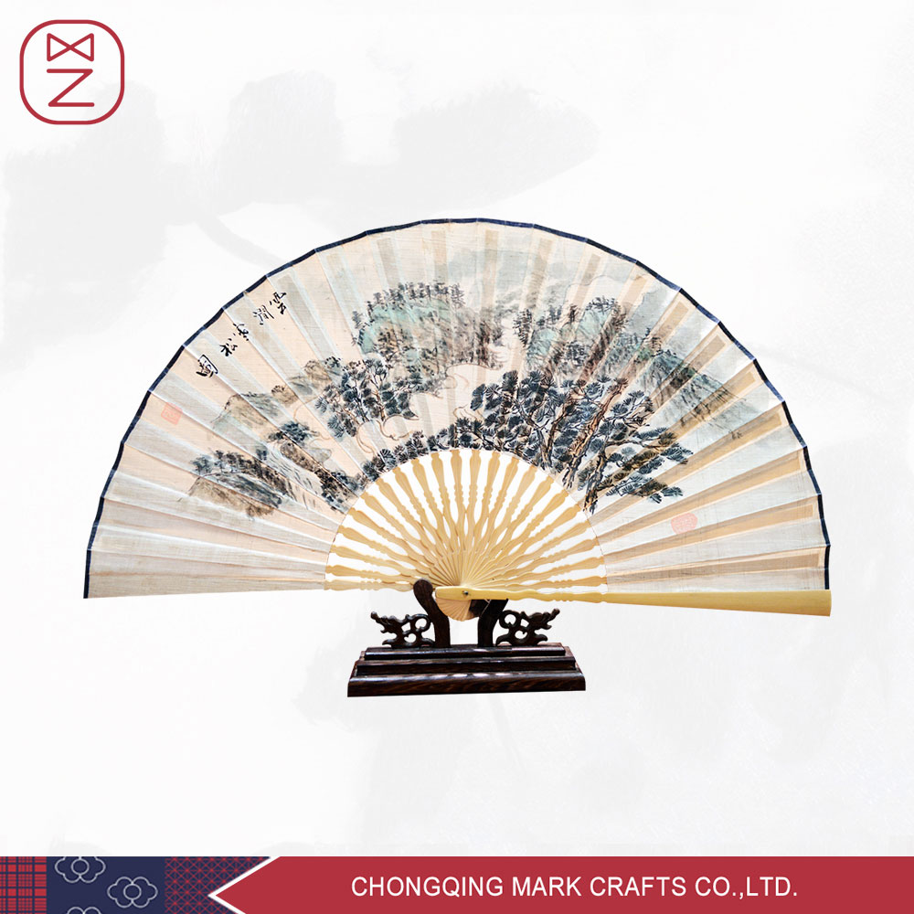 Handmade Summer Silk Bamboo Folding Fan Hand Painted Chinese Calligraphy Style Room Decoration and Men Daily Use Large Silk Fan(China (Mainland))