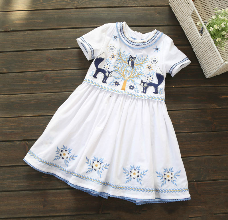 Kids Embroidery Fox Tree White Cotton Round Neck Short-sleeved Girl Dress,2016 Summer New for 2-7 Years<br><br>Aliexpress