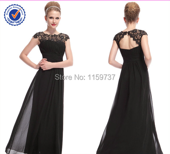 Latest Cap Sleeve Black Lace Chiffon Straight Antique Dress Evening(China (Mainland))