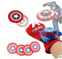 Мстители Супер Герой Человек-Паук Бэтмен Железный Человек Американский Капитал Халк Перчатки Пусковые Детские Игрушки Перчатки с 4 Фрисби