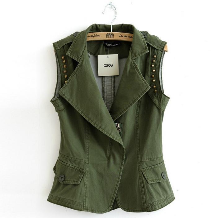 2015-Womens-fashion-army-green-Waistcoat-cowgirl ...