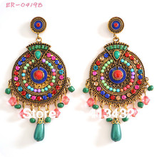 handmade round colorful tibetan simulated pearl celebrity earrings multi color 8.5cm fashion jewelry  ER-04198(China (Mainland))