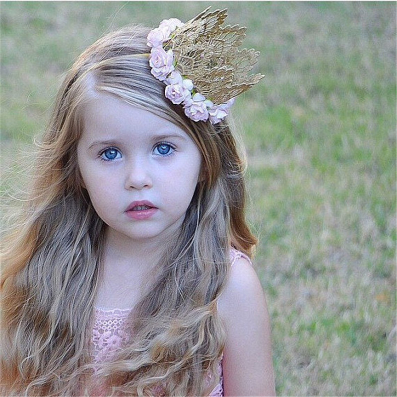 Pretty Infant Newborn Mini Felt Glitter Gold Lace Crown with Rose Flower Headbands For Baby Girls DIY Garments Hair Accessories(China (Mainland))