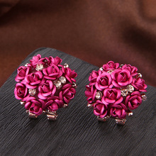 Buy 2017 New Fashion Korean Pink Red Blue Golden Plated Crystal Candy Colors Rose Stud Earrings Brincos Earrings Women Jewelry for $1.86 in AliExpress store